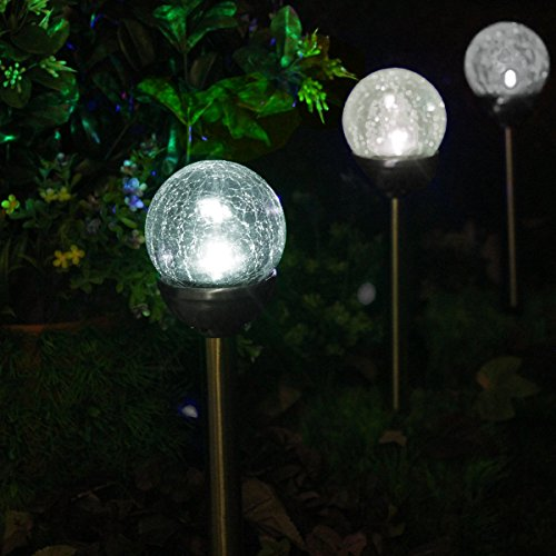 Solascape new 2015 crackle glass globe color changing led for Outdoor pathway lighting sets