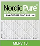 Nordic Pure 16x25x4M13-2 16x25x4 MERV 13 Pleated AC Furnace Air Filter, Box of 2, 4-Inch