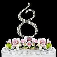 Rhinestone Cake Topper Number 8