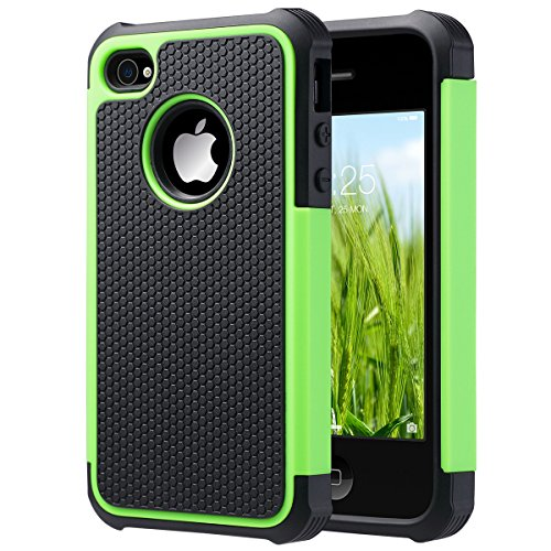 iPhone 4 Case, iPhone 4S Case, ULAK Hybrid Dual Layer Protective Case Cover with Hard Plastic and Soft Silicone for iPhone 4S & iPhone 4 (Green/Black) (Iphone 4 Silicone Cover compare prices)