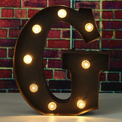 SOLMORE 23CM x 5.5CM LED Letter Light DIY Vintage Metal Sign Carnival Wall Marquee Lights Decoration G 0
