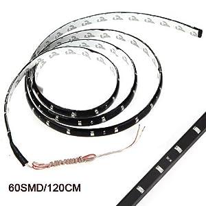 SODIAL(R) 120CM 60 SMD Tira de Luz LED Neon Flexible Impermeable para Coche - Blanco   Comentarios y más información