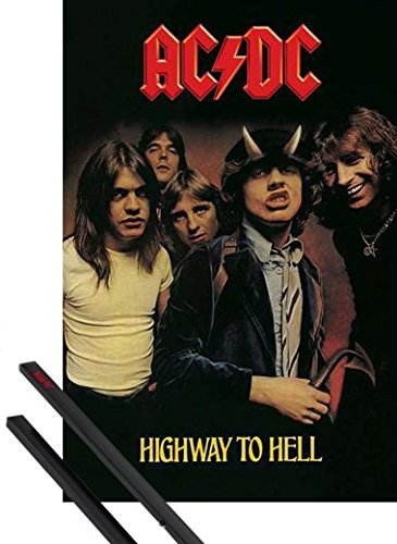 Poster + Sospensione : AC/DC Poster Stampa (91x61 cm) Highway To Hell E Coppia Di Barre Porta Poster Nere 1art1®