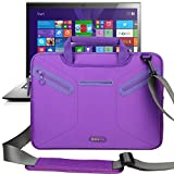 Evecase Multi-functional Neoprene Messenger Case Tote Bag for Lenovo ThinkPad X1 Carbon (2014) New 14 inch Touchscreen IPS Ultrabook i7-4600U 20A70037US / 20A70033US/ 20A7002QUS / 20A7002UUS Laptop - Purple