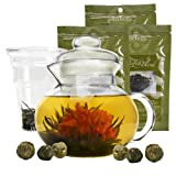 Primula Flowering Tea Set with 40-Ounce Blossom Teapot with 6 Flowering Teas, and Loose-Tea Variety Pack