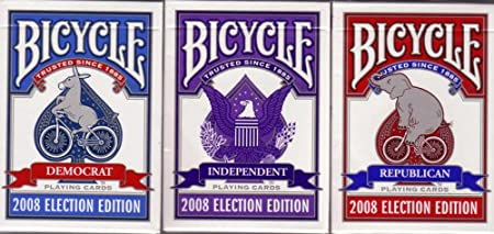 Top Deck Cards:  3 Decks Bicycle 2008 Election Edition Playing Cards