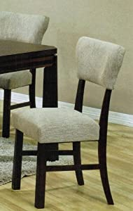 Set of 2 Dining Chairs in Gray Microfiber and Espresso Finish