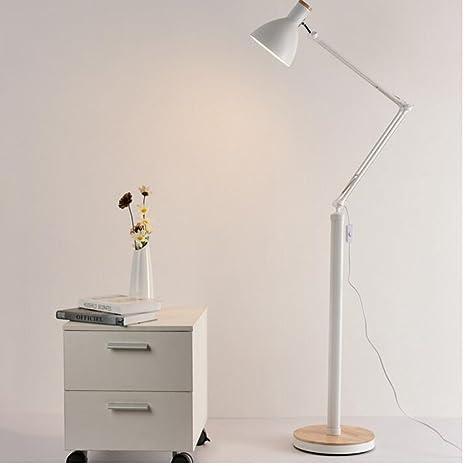 Lámparas de pie Lámpara de pie Sala de estar Mesa de centro Lámpara de pie vertical Estudio Dormitorio Lámpara de cabecera Interruptor de alimentación Botón para la lectura ( Color : Blanco )