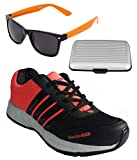 Spot On Men's Black Orange Running Shoes With Lotto Sunglasses And Cardholder Combo UK-8