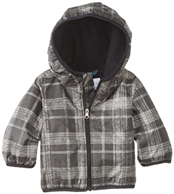 Columbia Baby Boys' Infant Mini Pixel Grabber II Wind Jacket, Black Distressed Plaid, 0-3 Months
