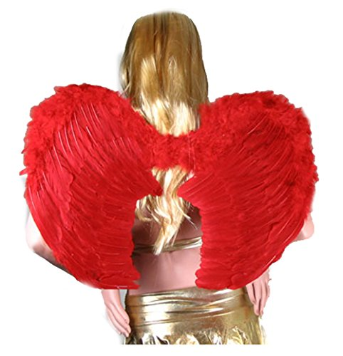 SACAS Large Red Feather Angel Wings w/ Free Halo for women, men, adults