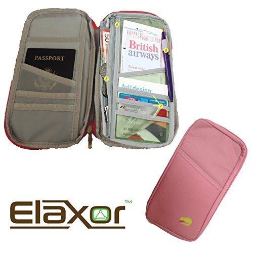 ElaxorTM Compact Waterproof Multi-Functional Zippered Passport, cards, cash and Travel Document Organizer Wallet Case (Pink) (Lg Optimus L90 Case Strap compare prices)