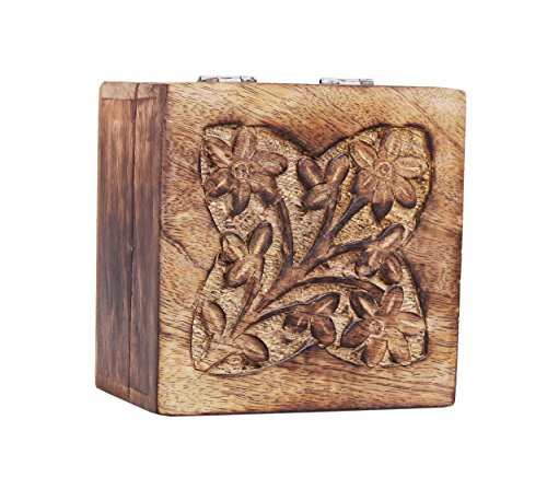 Mothers Day Gifts Rustic Wooden Trinket Ring Box Small Jewelry Keepsake Storage Organizer with Floral Hand Carvings