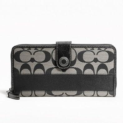 Coach Signature Stripe Accordion Zip Around Wallet - Black/Silver