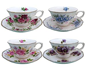 Gracie China by Coastline Imports Assorted Tea Cup and Saucer, Vintage Floral with Gold... by Gracie China Coastline Imports