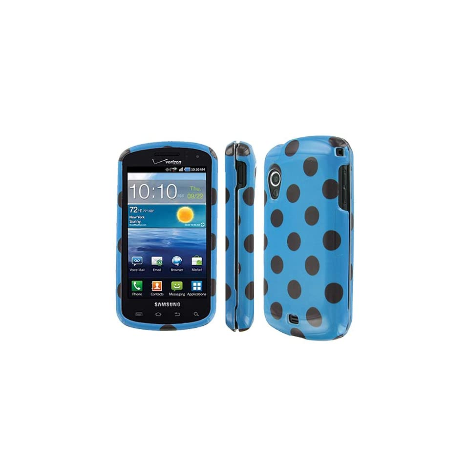 Brown Blue Polka Dot Hard Case Cover for Samsung Galaxy S Stratosphere SCH i405 Cell Phones & Accessories