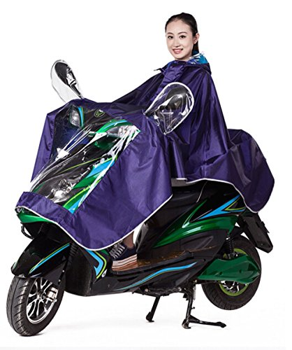 High Qality Motorcycle Waterproof Rain Coat Women Men Raincoat Scooter Cape Poncho (Purple)