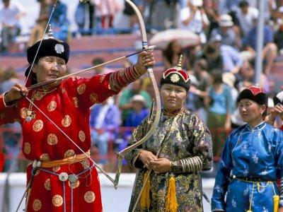 Archery Contest, Naadam Festival, Oulaan Bator (Ulaan Baatar), Mongolia, Central Asia Giclee Poster Print by Bruno Morandi, 16x12