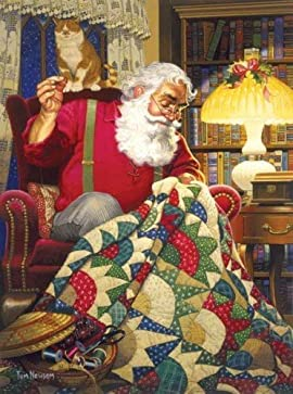 MINI - Quilting Santa Mini 7x9 100pc Jigsaw Puzzle by Tom Newsom [Misc.]