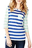 Pure Cotton Contrast Sleeve Striped Top [T41-2503J-S]