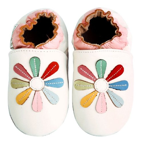 Momo Baby Soft Sole Baby Shoes - Rainbow Lily White