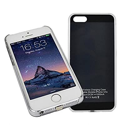 [1A Upgrade] OSSU® iPhone 5 5S Qi Wireless Charging Receiver Phone Case Charger Back Cover with Flexible Lightning Connector