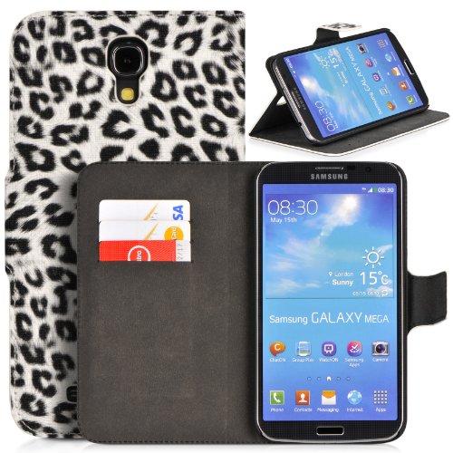 Donzo Wallet Leopard Style Tasche für Samsung Galaxy Mega 6.3 GT-I9200/GT-I9205 mit Kreditkartenfächer und Standfunktion weiß