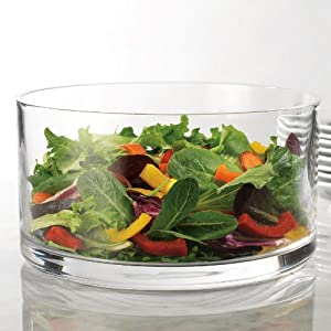 Large Clear Glass Salad Bowl, Round Dessert Serving Dish