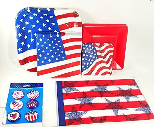 Patriotic Party Supplies Pack Stars and Stripes - Plates, Napkins, Tablecover and Patriotic Buttons ( Serves 14 Guests) (Red)