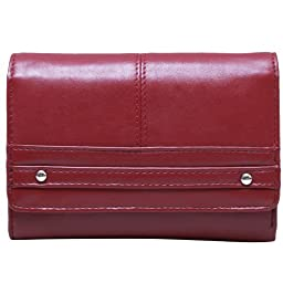 Travelsky 13587 RFID Blocking Womens Palm Clutch Wallet (red)