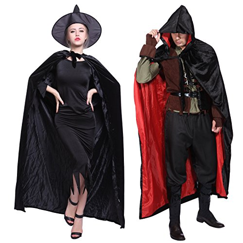 Velvet Cloak Gothic Hooded Gothic Wicca Robe Medieval Witchcraft Larp Cape