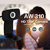 AUSDOM AW310 720P High Definition Webcam HD Network Security Camera Widescreen Plug and Play WebCam With Built-in Mic for Skype FaceTime webchat video YouTube Hangouts On Air