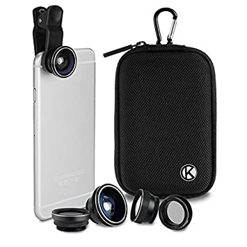 CamKix Deluxe Universal 5in1 Camera Lens Kit for Smartphone, Tablet and Laptop - Fish Eye, 2in1 Macro and Wide Angle, CPL and 2x Tele Lens, Universal Clip, Case with Carabiner and Cleaning Cloth at amazon