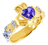 Gold Diamond Claddagh Ring 0.40 Carats with Alexandrite Stone