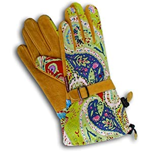 Womanswork 703S Paisley Gauntlet Glove with Synthetic Leather Palm, Small