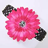 3-in-1 Gerber Daisy Flower Hair Clip Bow on Soft Stretch Crochet Child Headband fits Babies to Toddlers to Youth Girls (Many Colors Available) $3.95