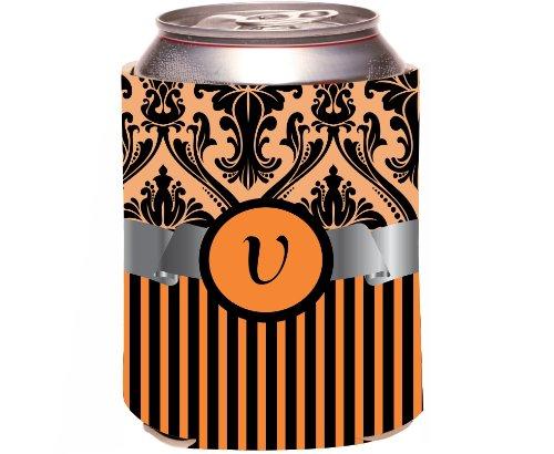 """Rikki Knight Beer Can Soda Drinks Cooler Koozie, Letter """"V"""" Initial Monogrammed Design, Damask And Stripes, Orange front-642326"""