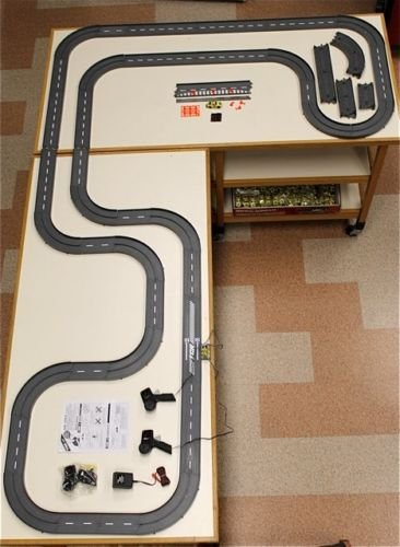 1993 UNUSED TYCO TCR Slotless Slot Car Total Control RACE TRACK SET 34ft + 6 Vehicles!