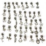 Tibetanische Perlen mit Anhänger zum Basteln von Bettelarmbändern, 40Stück