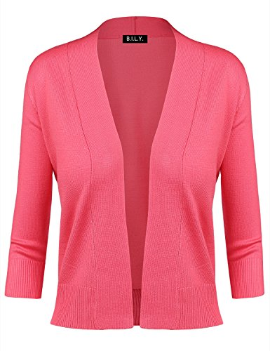 BILY Women's Classic Open Front Cropped Cardigan Coral 2 Medium