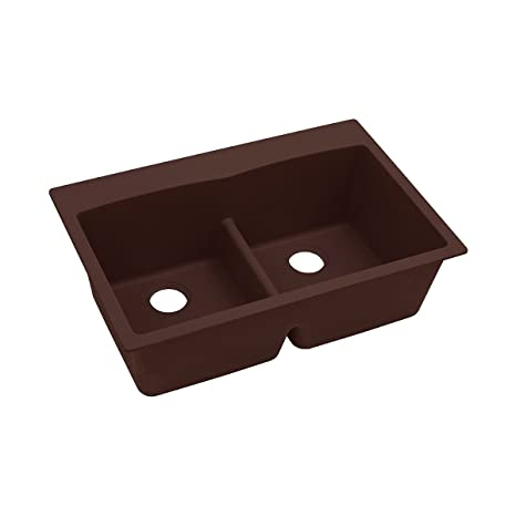 "Elkay ELGDLB3322PC0 Granite 33"" x 22"" x 10"" Double Bowl Top Mount Kitchen Sink, Pecan"