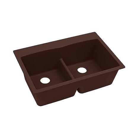 "Elkay ELGDLB3322PC0 Granite 33"" x 22"" x 10"" Double Bowl Top Mount Kitchen Sink, Pecan"