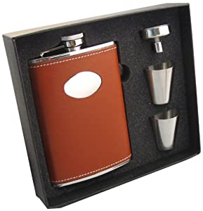 """Visol """"Bobcat"""" Leather Stainless Steel Flask Gift Set, 8-Ounce, Brown"""