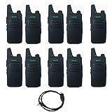 10PCS WLN KD-C1 Walkie 16 Channel Talkie Ham Radio UHF 400-470 MHz MINI-handheld Transceiver Two Way Radio Communicator+1PCS Programming Cable