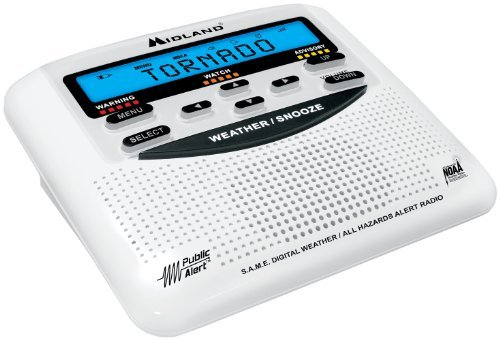 Midland Consumer Radio WR-120B NOAA Weather Alert All Hazard Public Alert Certified Radio with SAME, Trilingual Display and Alarm Clock - Gift Box
