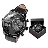 JS Direct 1pc Olum Boys' Men's Sports Watch Steel Case Analog Quartz Leather Strap Dual Time Zone with Box - Black