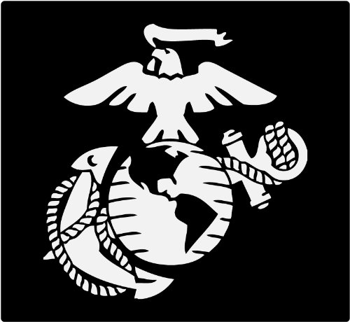Marine Corps - Eagle Globe & Anchor WHITE USMC Car Decal Window Stickers (Rear Window Graphics Usmc compare prices)