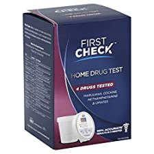 First Check Home Drug Test, Marijuana, Cocaine, Methamphetamine & Opiates, 4 tests