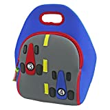 Dabbawalla Bags Fast Track Insulated And Machine Washable Race Car Lunch Bag For Kids, Royal/Gray/Re
