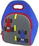Dabbawalla Bags Fast Track Insulated and Machine Washable Race Car Lunch Bag for Kids, Royal/Gray/Red